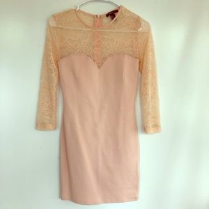 Peach fitted stretch bodice & Lace Dress size S